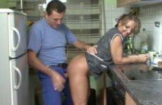 Hausfrau Gerda vernascht den Handwerker im Putzkittel